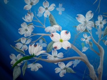 Ethereal Dogwood, Acrylic on Canvas, another closeup