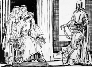 SIR-MELIAGRANCE-KNEELING-BEFORE-THE-QUEEN-1-K3582