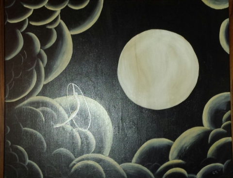 Flying like the Moon, Acrylic on Canvas. I apologize for the terrible photo.