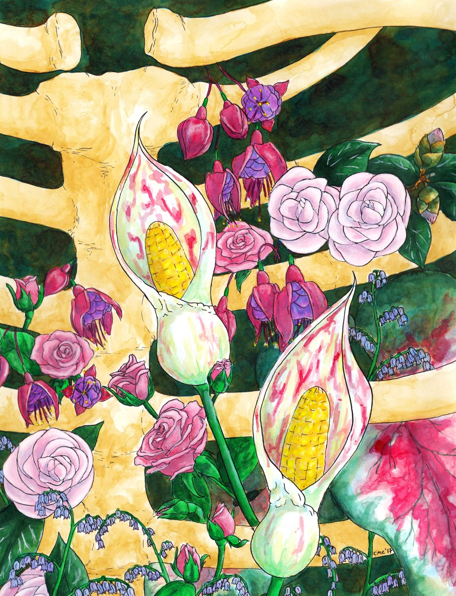 """This is titled """"Gratitude""""  It is a Secret Language of Flowers inspired drawing.  The fuchsia mean """"good taste.""""  This is intended as a thank you for those who support me and admire my creations enough to purchase them."""