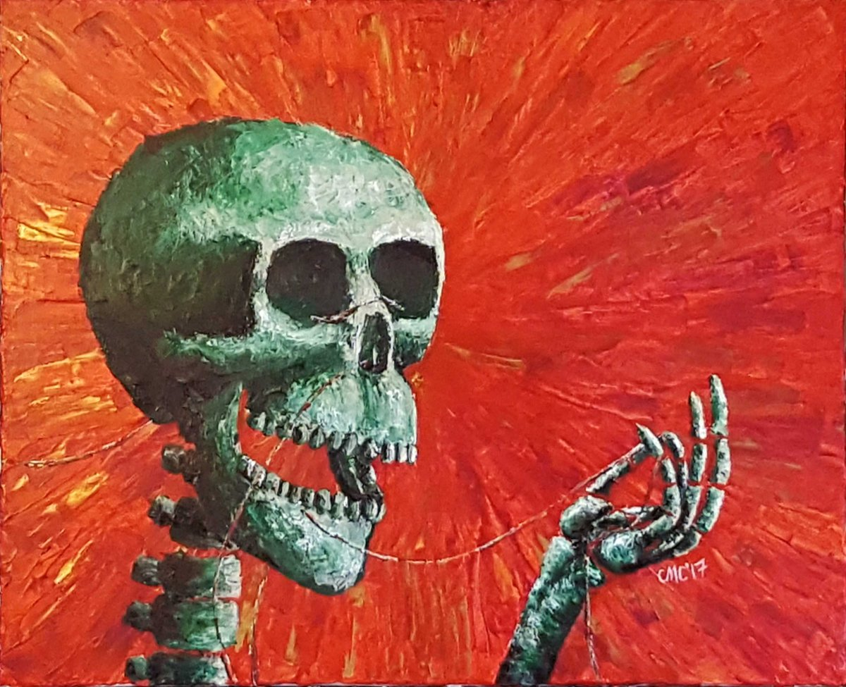 SkullOnRedBackgroundPainting