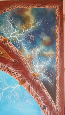 close up of top right of portal painting