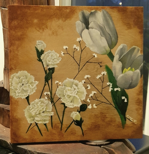 Tulips and Carnations on wood